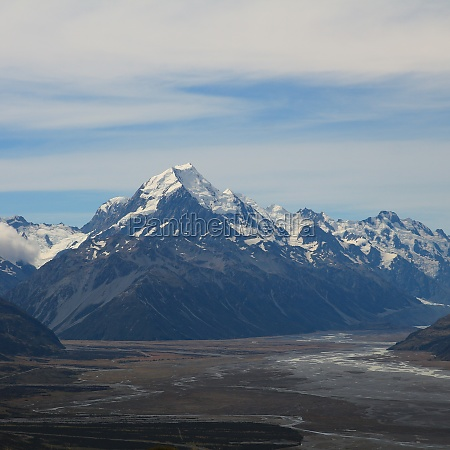 snow covered mount cook new zealand