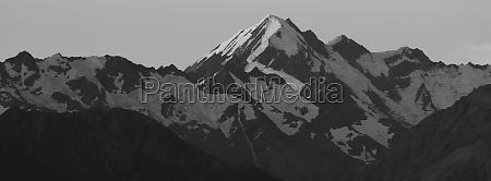 monochrome image of mount la perouse