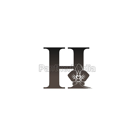 letter h logo icon with black