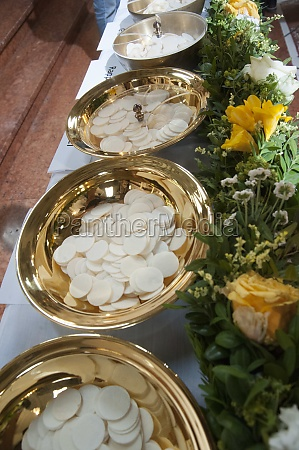 bowl with sacramental at holy communion