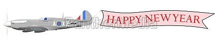 flying happy new year banner