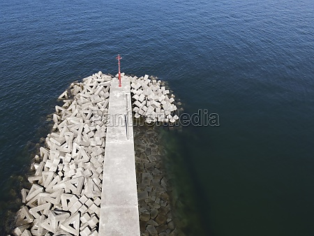 aerial view of jetty with concrete