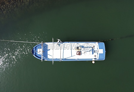 aerial view of fishing boat moored