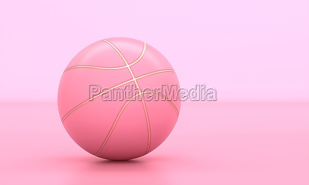 pink basketball with gold inserts on