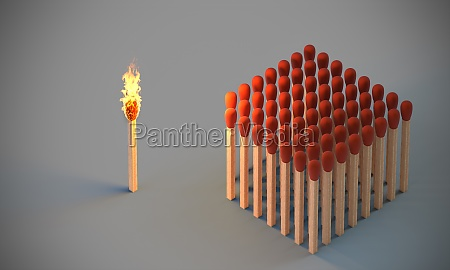 lighted match and group of undamaged