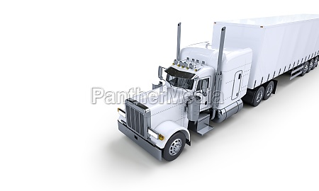 big white transport truck on a