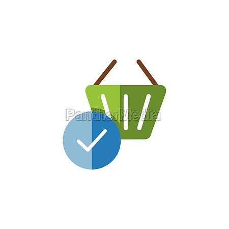 shopping basket check mark flat color