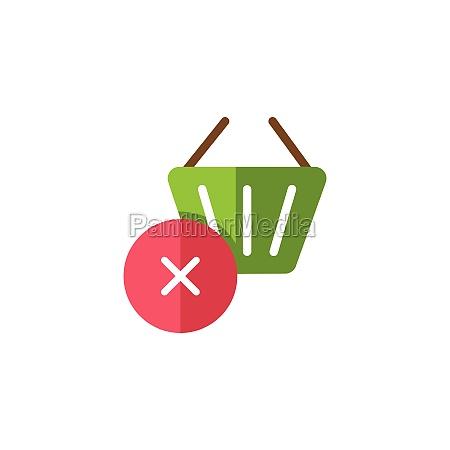 shopping basket cross mark flat color