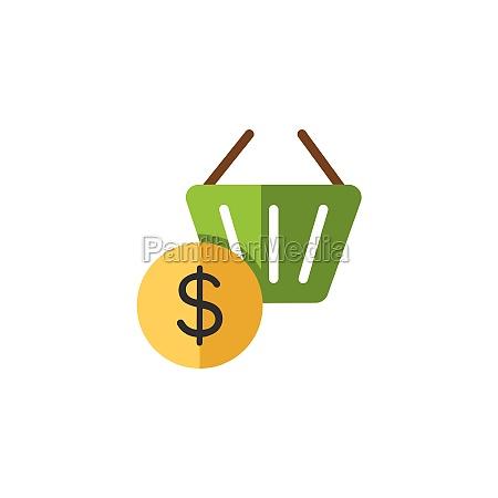 shopping basket dollar symbol flat color