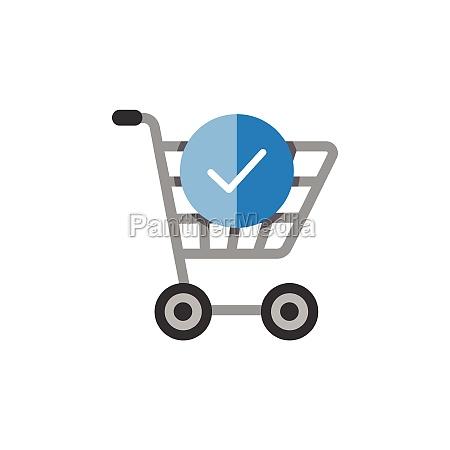 shopping cart check mark flat color