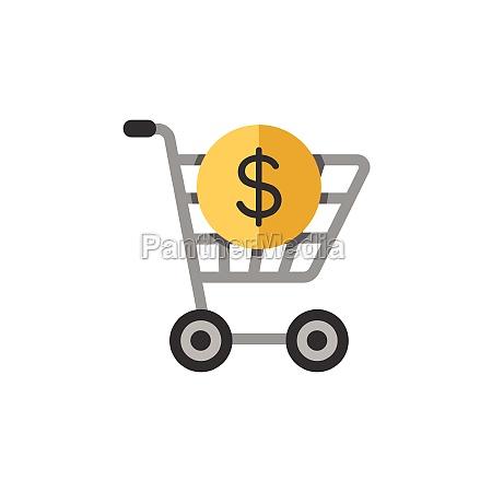 shopping cart dollar symbol flat color