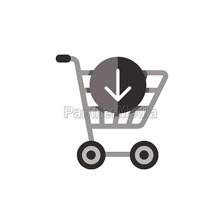 shopping cart down arrow flat color
