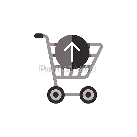 shopping cart up arrow flat color