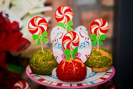 holiday colorful cakes with swirl turntables