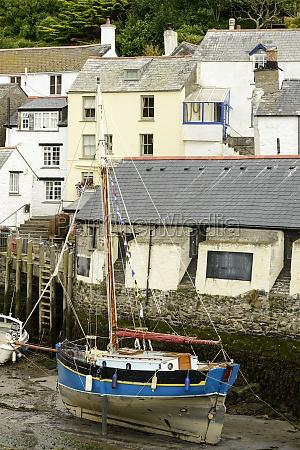 old sailboat aground polperro