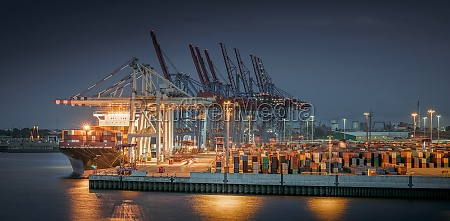 panorama of a container terminal in