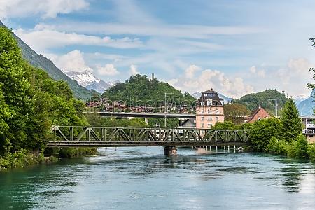 beautiful river landscape of interlaken switzerland