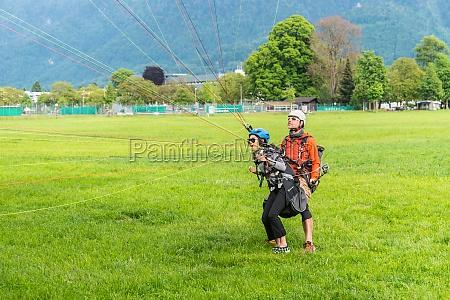 paraglider in interlaken switzerland
