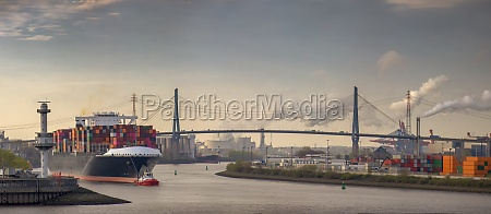 panorama of a container ship in