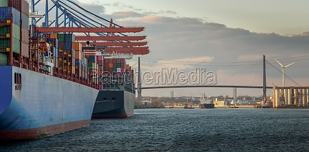 container terminal in the port of