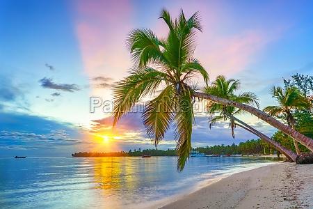sunrise over tropical beach
