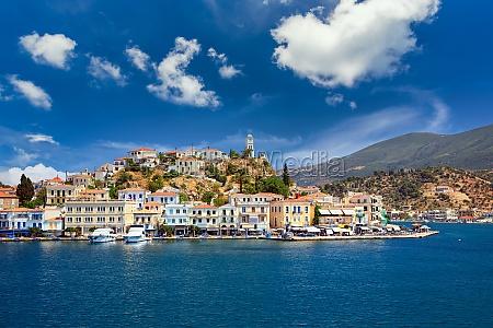 poros island at sunny day greece
