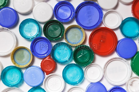 plastic caps background recycling concept