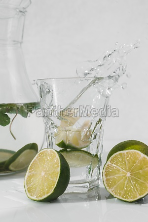 detox water with lime fruit and