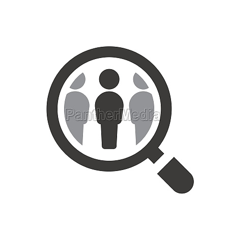 employee recruitment symbol with loupe