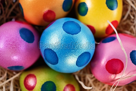 top view of colourful easter eggs