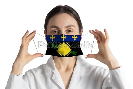 respirator with flag of guadeloupe doctor