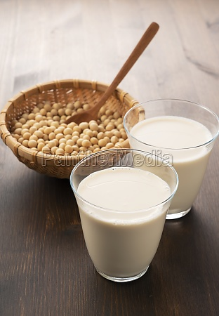 soy milk in a glass on