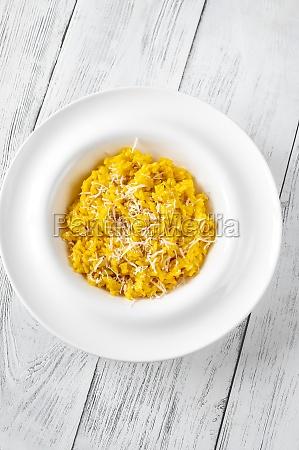 portion of saffron risotto