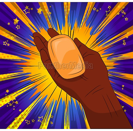 black african person holding soap
