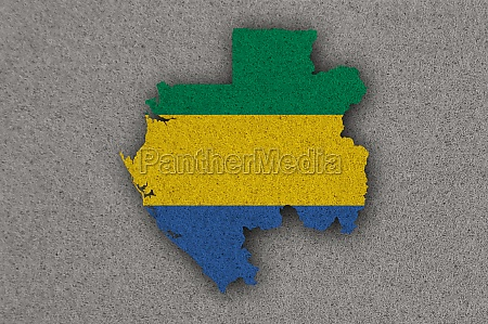 map and flag of gabon on