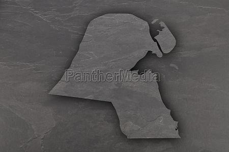 map of kuwait on dark slate