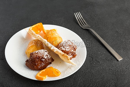carnival dessert on plate isolated on