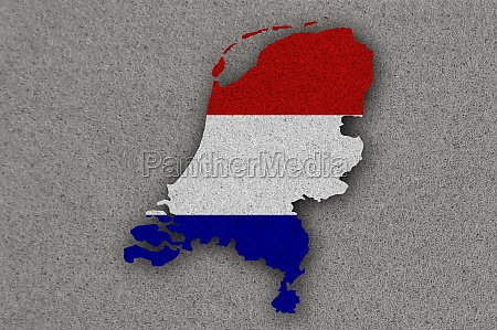 map and flag of netherlands on