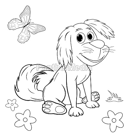 cute cartoon dog coloring page