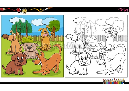 cartoon dogs and puppies group coloring