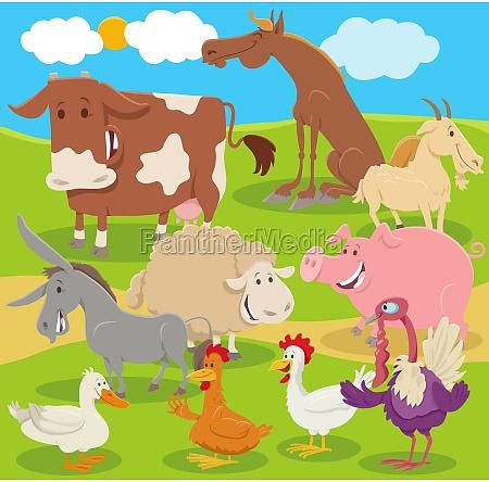 cartoon farm animal characters group in