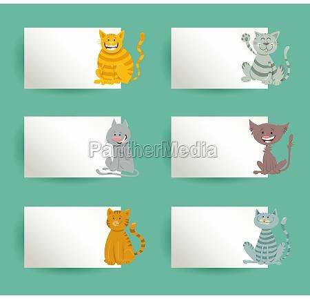 cards design set with cartoon cats