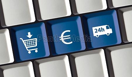 online shop principle on computer keyboard