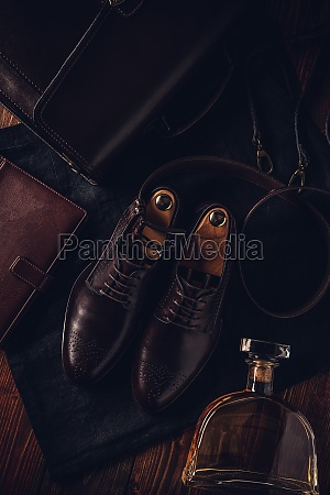 mens leather shoe belt and diary