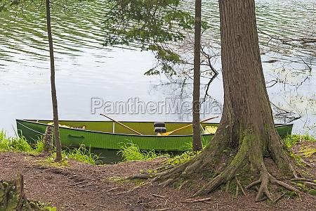 canoe waiting on a wilderness lake