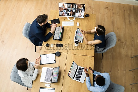 video conference call at business meeting