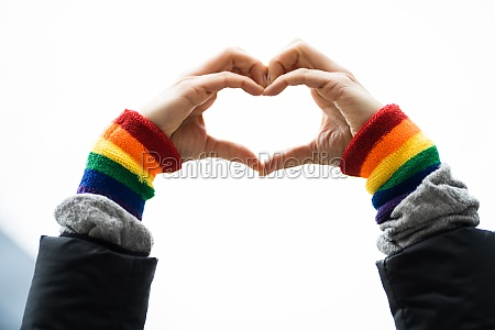 gay pride heart love wristband gesture