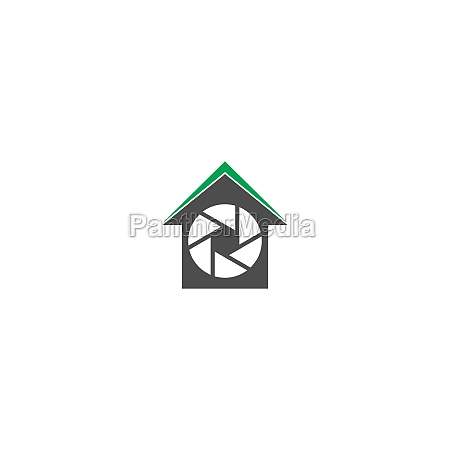 camera shutter logo house