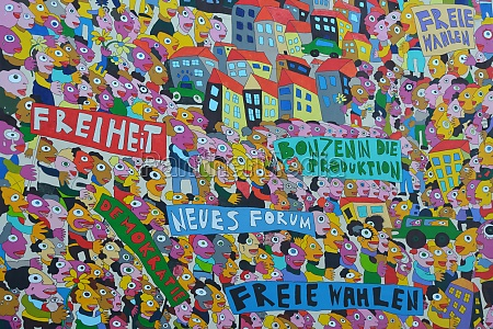 colorful politicial paintings in leipzig