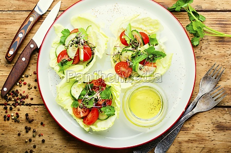 plate of salad with vegetables and